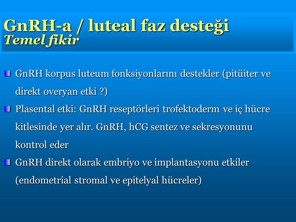 GnRH-a / luteal faz desteği Temel fikir GnRH korpus luteum fonksiyonlarını destekler (pitüiter ve direkt overyan etki ?) Plasental etki: GnRH reseptörleri trofektoderm ve iç hücre kitlesinde yer alır.