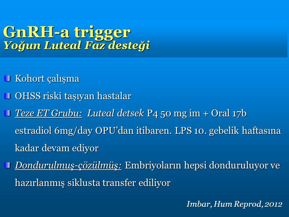GnRH-a trigger Yoğun Luteal Faz desteği Kohort çalışma OHSS riski taşıyan hastalar Teze ET Grubu: Luteal detsek P4 50 mg im + Oral 17b estradiol 6mg/day OPU'dan itibaren.