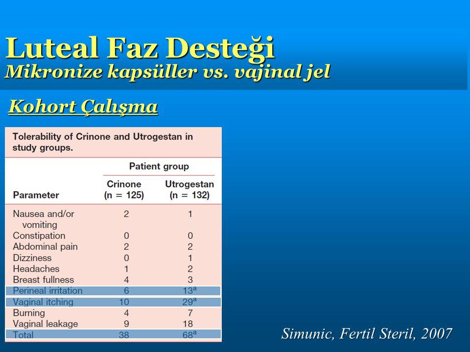 Simunic, Fertil Steril, 2007 Kohort Çalışma Luteal Faz Desteği Mikronize kapsüller vs. vajinal jel