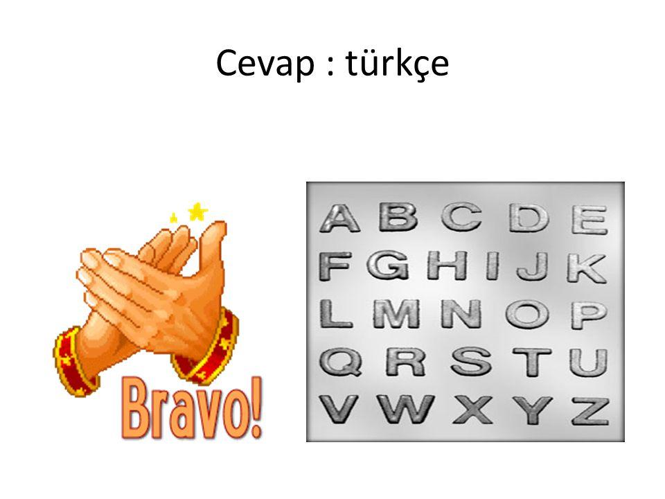Cevap : türkçe