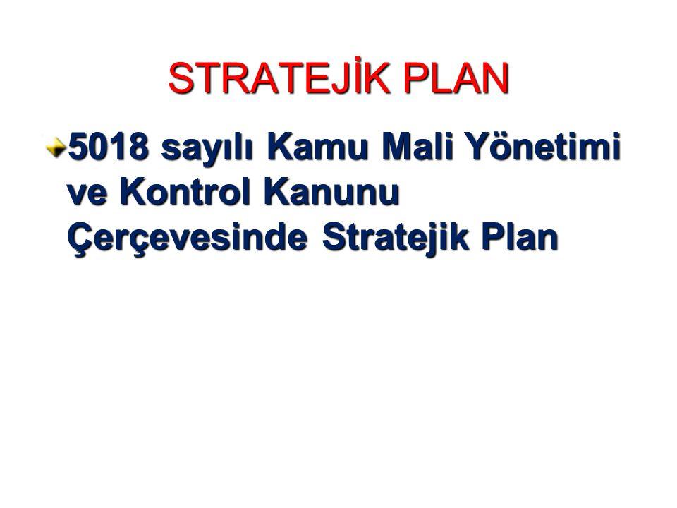 STRATEJİK PLAN 5018 sayılı Kamu Mali Yönetimi ve Kontrol Kanunu Çerçevesinde Stratejik Plan