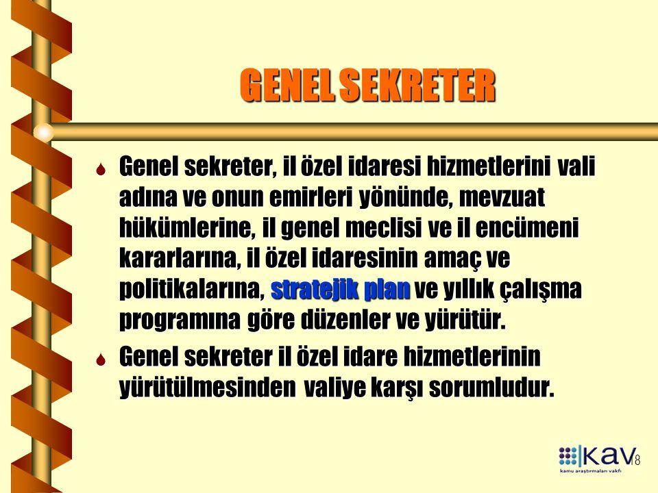 18 GENEL SEKRETER S Genel sekreter, il özel idaresi hizmetlerini vali adına ve onun emirleri yönünde, mevzuat hükümlerine, il genel meclisi ve il encü