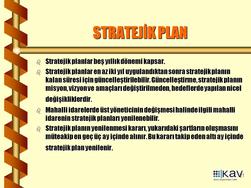 21 STRATEJİK PLAN b Stratejik planlar beş yıllık dönemi kapsar. b Stratejik planlar en az iki yıl uygulandıktan sonra stratejik planın kalan süresi iç