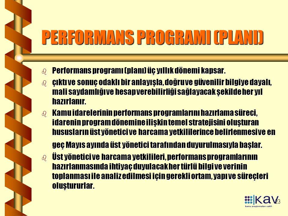 23 PERFORMANS PROGRAMI (PLANI) b Performans programı (planı) üç yıllık dönemi kapsar. b çıktı ve sonuç odaklı bir anlayışla, doğru ve güvenilir bilgiy