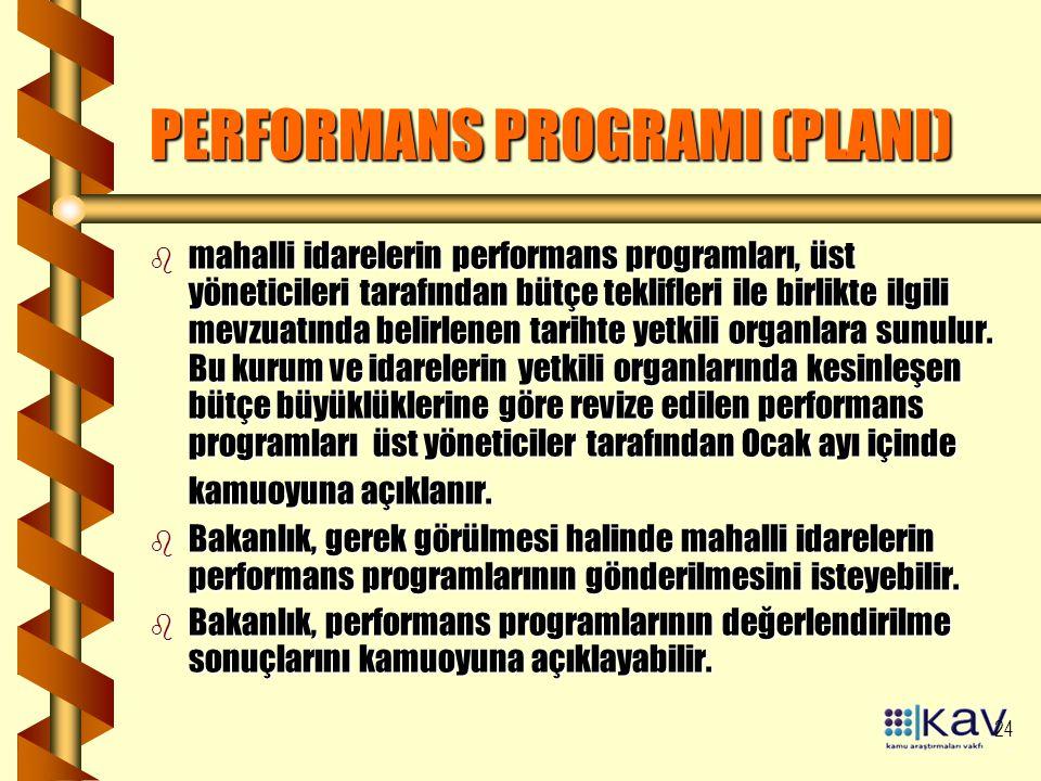 24 PERFORMANS PROGRAMI (PLANI) b mahalli idarelerin performans programları, üst yöneticileri tarafından bütçe teklifleri ile birlikte ilgili mevzuatında belirlenen tarihte yetkili organlara sunulur.