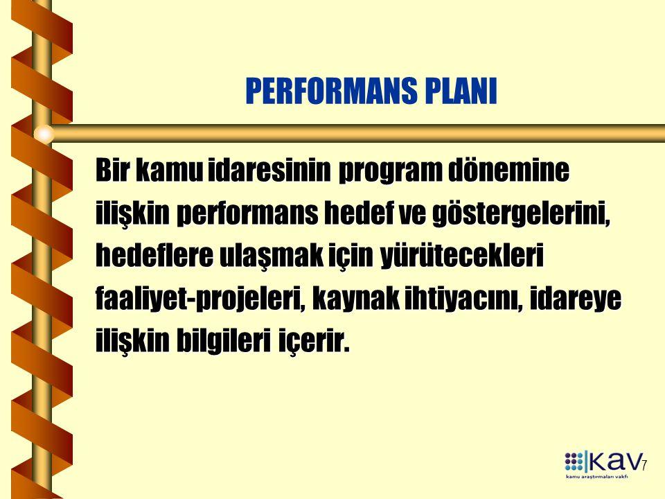 7 PERFORMANS PLANI Bir kamu idaresinin program dönemine ilişkin performans hedef ve göstergelerini, hedeflere ulaşmak için yürütecekleri faaliyet-projeleri, kaynak ihtiyacını, idareye ilişkin bilgileri içerir.