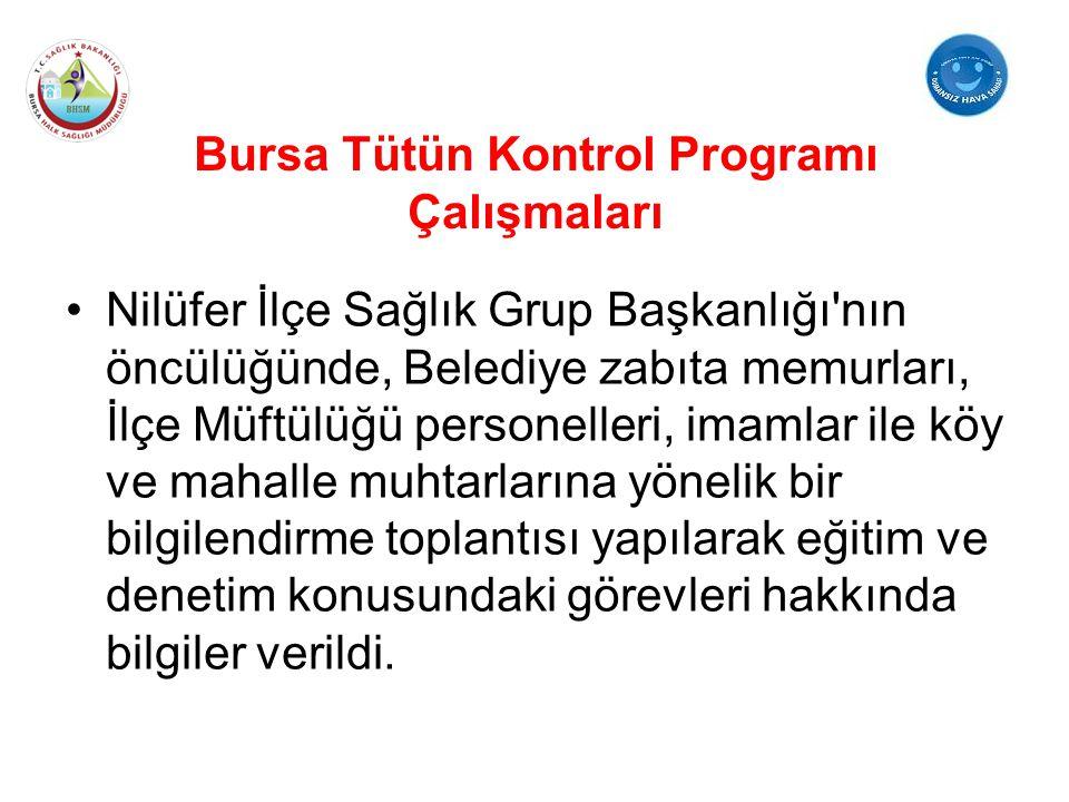 Bursa Tütün Kontrol Programı Çalışmaları Nilüfer İlçe Sağlık Grup Başkanlığı'nın öncülüğünde, Belediye zabıta memurları, İlçe Müftülüğü personelleri,
