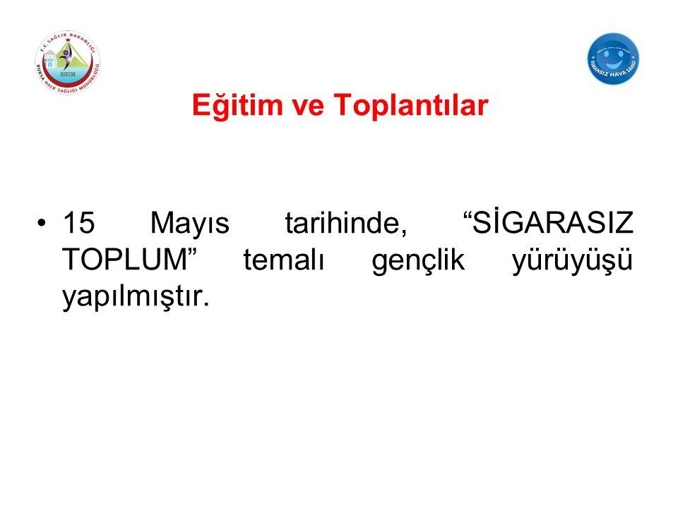 """15 Mayıs tarihinde, """"SİGARASIZ TOPLUM"""" temalı gençlik yürüyüşü yapılmıştır."""
