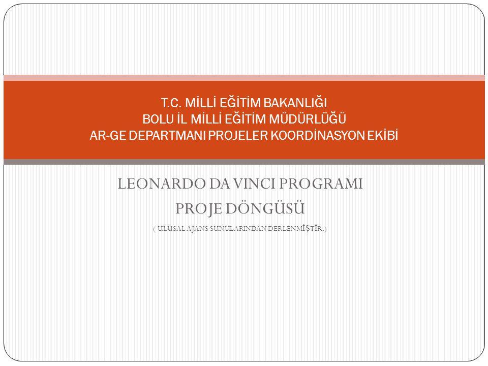 LEONARDO DA VINCI PROGRAMI PROJE DÖNGÜSÜ ( ULUSAL AJANS SUNULARINDAN DERLENM İŞ T İ R.) T.C. MİLLİ EĞİTİM BAKANLIĞI BOLU İL MİLLİ EĞİTİM MÜDÜRLÜĞÜ AR-