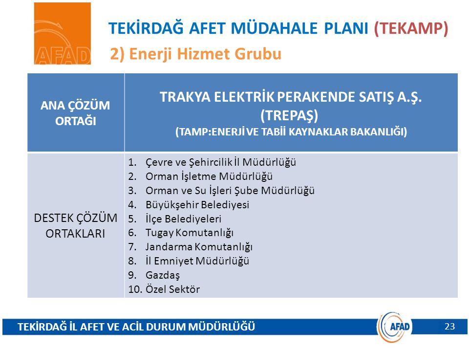 TEKİRDAĞ AFET MÜDAHALE PLANI (TEKAMP) 2) Enerji Hizmet Grubu 23 ANA ÇÖZÜM ORTAĞI TRAKYA ELEKTRİK PERAKENDE SATIŞ A.Ş. (TREPAŞ) (TAMP:ENERJİ VE TABİİ K