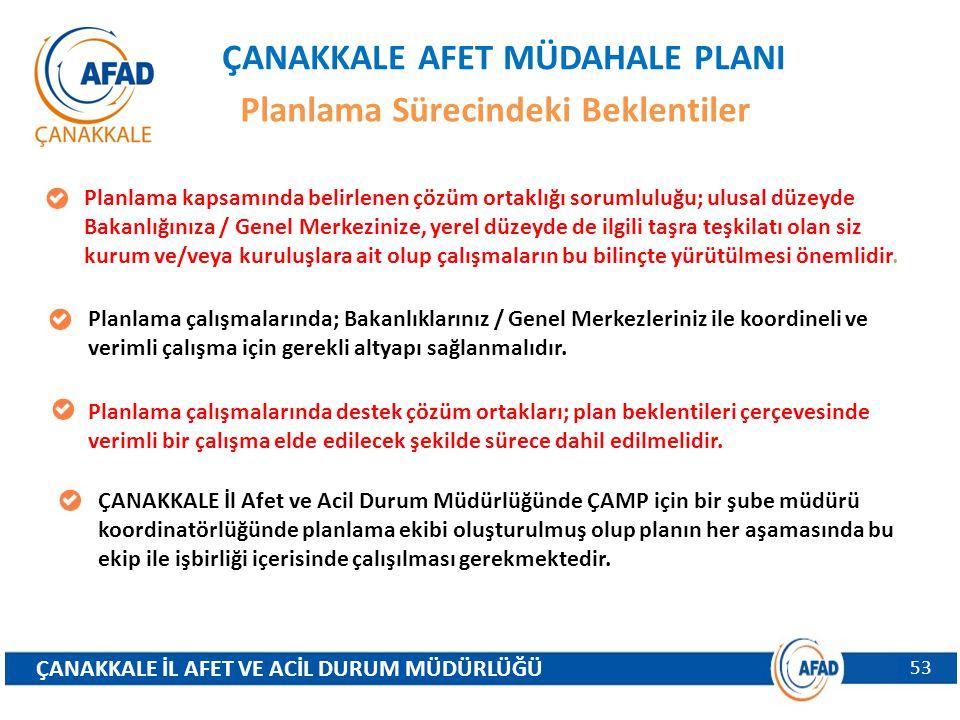ÇANAKKALE AFET MÜDAHALE PLANI Planlama Sürecindeki Beklentiler Planlama kapsamında belirlenen çözüm ortaklığı sorumluluğu; ulusal düzeyde Bakanlığınız