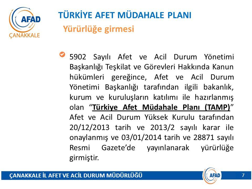 TÜRKİYE AFET MÜDAHALE PLANI Yürürlüğe girmesi Söz konusu Türkiye Afet Müdahale Planı (TAMP) ulusal düzey afet planlamasının ana planı olup, ulusal düzeyde hazırlanacak 28 adet hizmet grubu operasyon planının esaslarını belirlemektedir.