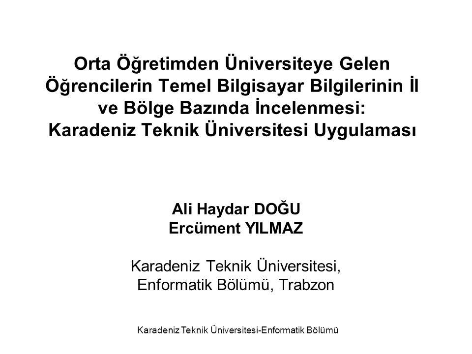 Karadeniz Teknik Üniversitesi-Enformatik Bölümü 2009- ÖSS İLE KARADENİZ TEKNİK ÜNİVERSİTESİNİ KAZANAN ÖĞRENCİLERİN TEMEL BİLGİ TEKNOLOJİLERİNİ KULLANABİLME YÜZDELERİNİN İL DÜZEYİNDE DAĞILIMI % 0–20% 21–30% 31–40 % 41–50% 51–60% 61–100