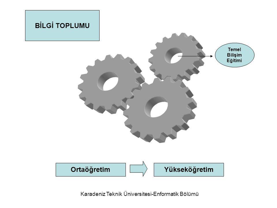Karadeniz Teknik Üniversitesi-Enformatik Bölümü BİLGİ TOPLUMU Temel Bilişim Eğitimi OrtaöğretimYükseköğretim