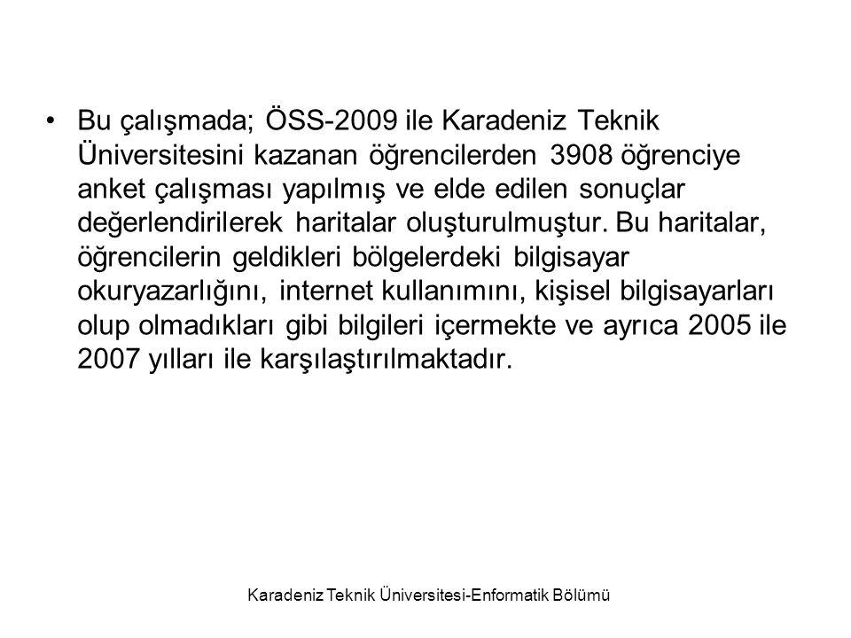 Karadeniz Teknik Üniversitesi-Enformatik Bölümü Anket Çalışması Çalışmanın temelini oluşturan anket uygulamalarında; Referans periyodu: Eylül-2009 Örnek birim: 18-21 yaş grubu Anket sayısı: 3908'dır.