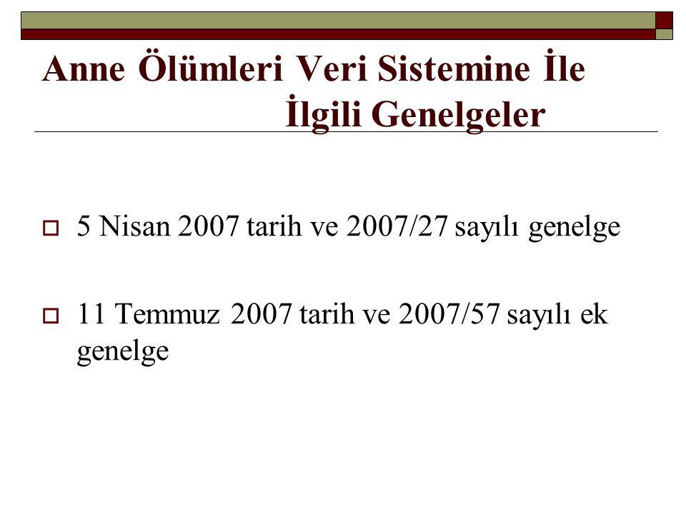 Anne Ölümleri Veri Sistemine İle İlgili Genelgeler  5 Nisan 2007 tarih ve 2007/27 sayılı genelge  11 Temmuz 2007 tarih ve 2007/57 sayılı ek genelge