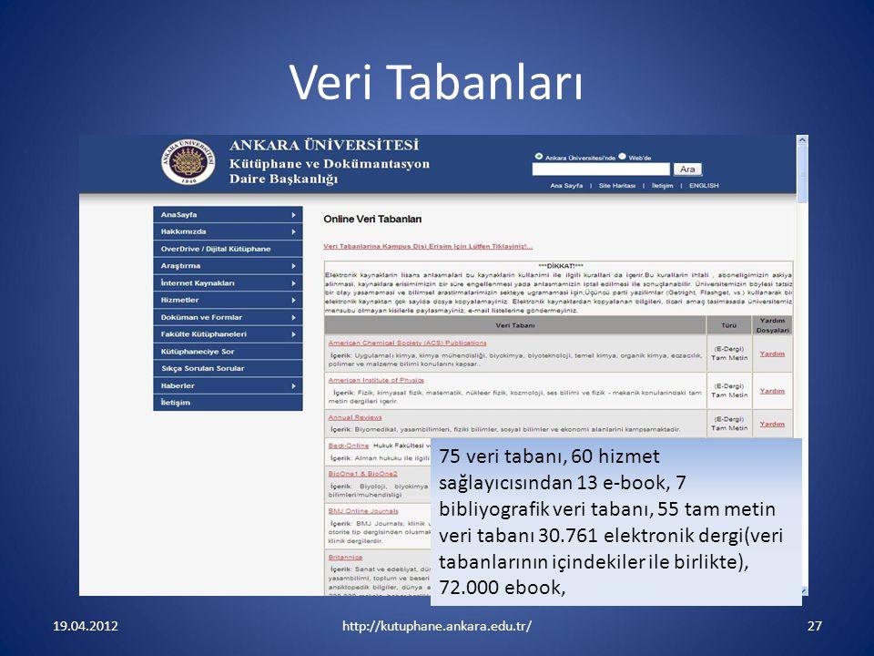 Veri Tabanları 19.04.2012http://kutuphane.ankara.edu.tr/27 75 veri tabanı, 60 hizmet sağlayıcısından 13 e-book, 7 bibliyografik veri tabanı, 55 tam me