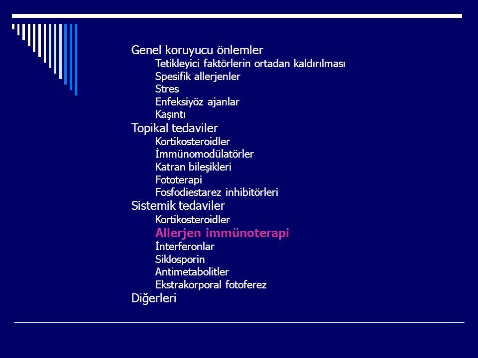 Genel koruyucu önlemler Tetikleyici faktörlerin ortadan kaldırılması Spesifik allerjenler Stres Enfeksiyöz ajanlar Kaşıntı Topikal tedaviler Kortikosteroidler İmmünomodülatörler Katran bileşikleri Fototerapi Fosfodiestarez inhibitörleri Sistemik tedaviler Kortikosteroidler Allerjen immünoterapi İnterferonlar Siklosporin Antimetabolitler Ekstrakorporal fotoferez Diğerleri