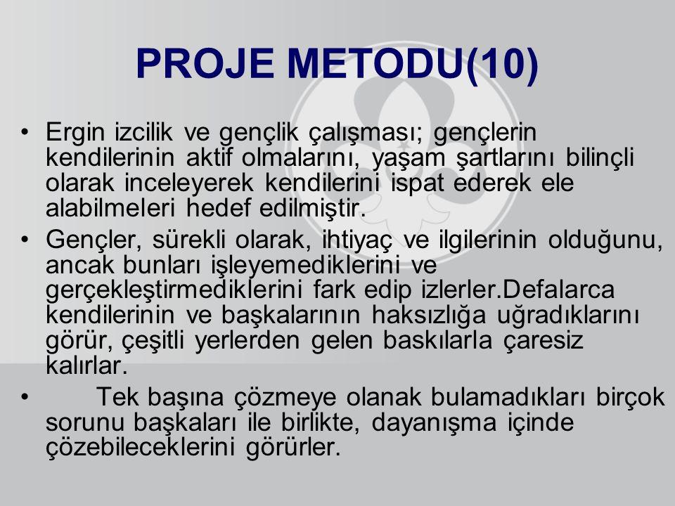 PROJE METODU(10) Ergin izcilik ve gençlik çalışması; gençlerin kendilerinin aktif olmalarını, yaşam şartlarını bilinçli olarak inceleyerek kendilerini