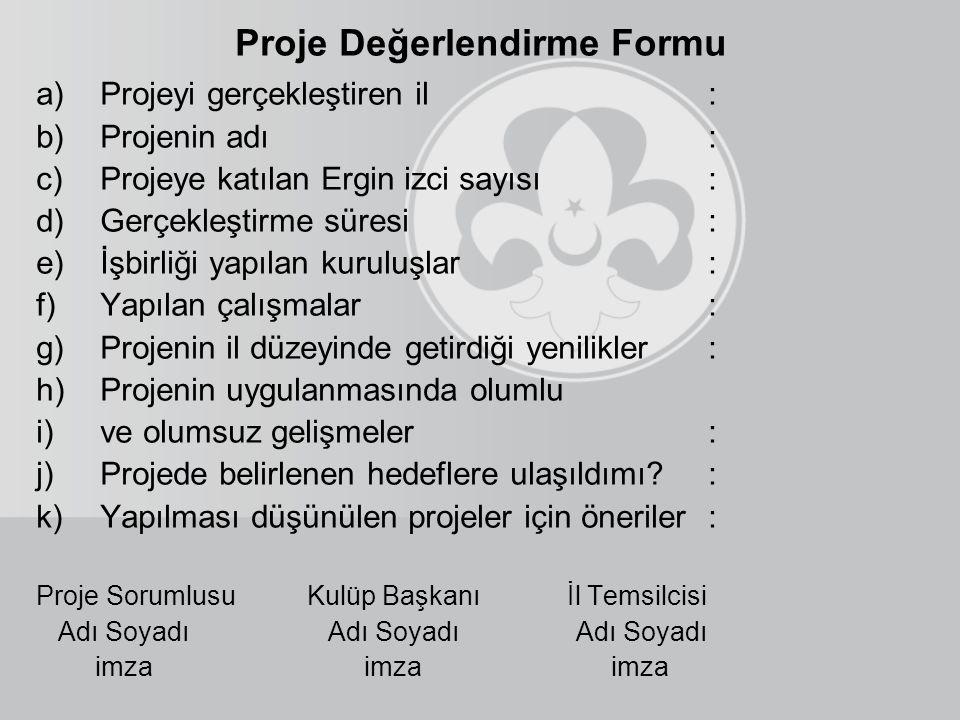 Proje Değerlendirme Formu a)Projeyi gerçekleştiren il: b)Projenin adı: c)Projeye katılan Ergin izci sayısı: d)Gerçekleştirme süresi: e)İşbirliği yapıl