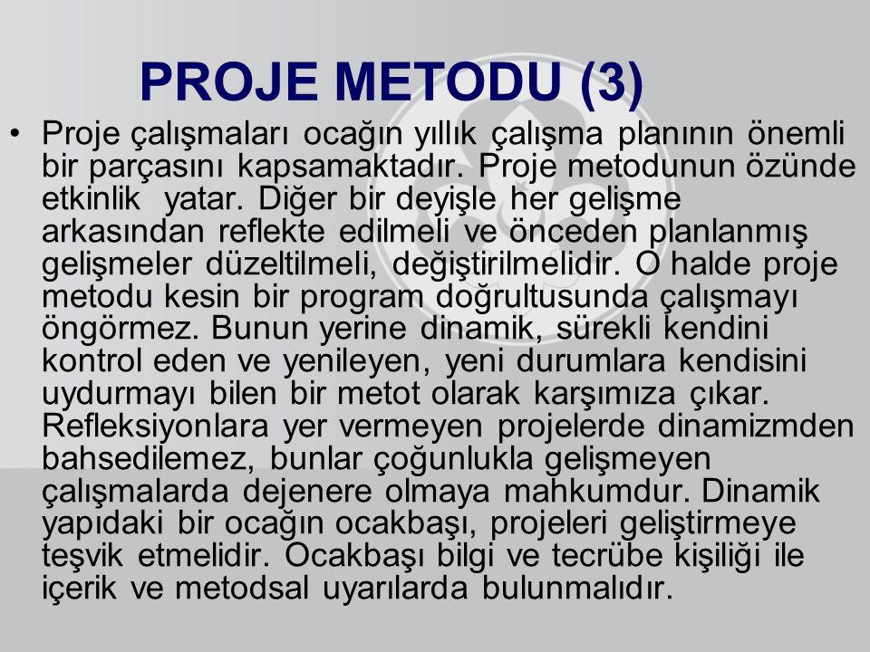 PROJE METODU (3) Proje çalışmaları ocağın yıllık çalışma planının önemli bir parçasını kapsamaktadır. Proje metodunun özünde etkinlik yatar. Diğer bir