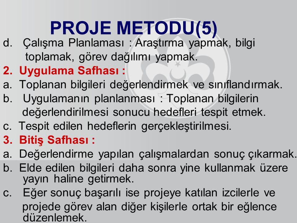 PROJE METODU(5) d.Çalışma Planlaması : Araştırma yapmak, bilgi toplamak, görev dağılımı yapmak. 2. Uygulama Safhası : a. Toplanan bilgileri değerlendi