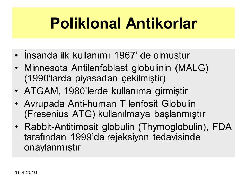 16.4.2010 Poliklonal Antikorlar İnsanda ilk kullanımı 1967' de olmuştur Minnesota Antilenfoblast globulinin (MALG) (1990'larda piyasadan çekilmiştir) ATGAM, 1980'lerde kullanıma girmiştir Avrupada Anti-human T lenfosit Globulin (Fresenius ATG) kullanılmaya başlanmıştır Rabbit-Antitimosit globulin (Thymoglobulin), FDA tarafından 1999'da rejeksiyon tedavisinde onaylanmıştır