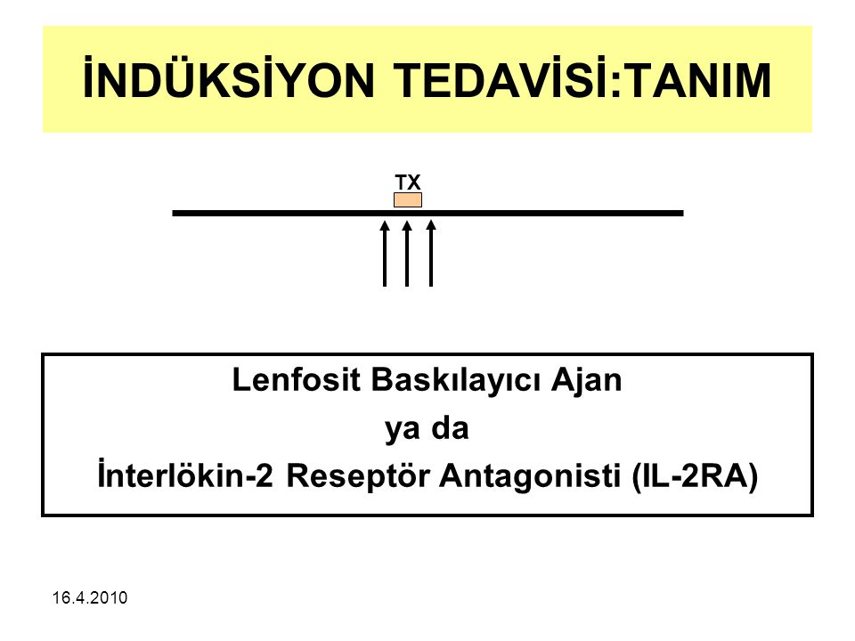 16.4.2010 İNDÜKSİYON TEDAVİSİ:TANIM Lenfosit Baskılayıcı Ajan ya da İnterlökin-2 Reseptör Antagonisti (IL-2RA) TX