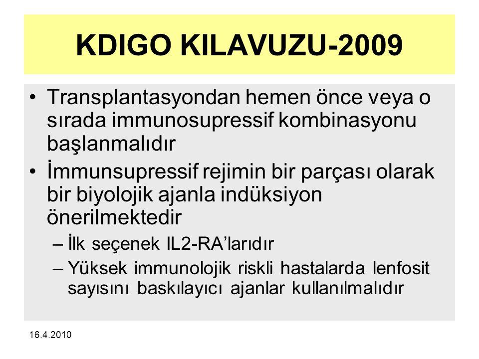 16.4.2010 KDIGO KILAVUZU-2009 Transplantasyondan hemen önce veya o sırada immunosupressif kombinasyonu başlanmalıdır İmmunsupressif rejimin bir parçası olarak bir biyolojik ajanla indüksiyon önerilmektedir –İlk seçenek IL2-RA'larıdır –Yüksek immunolojik riskli hastalarda lenfosit sayısını baskılayıcı ajanlar kullanılmalıdır