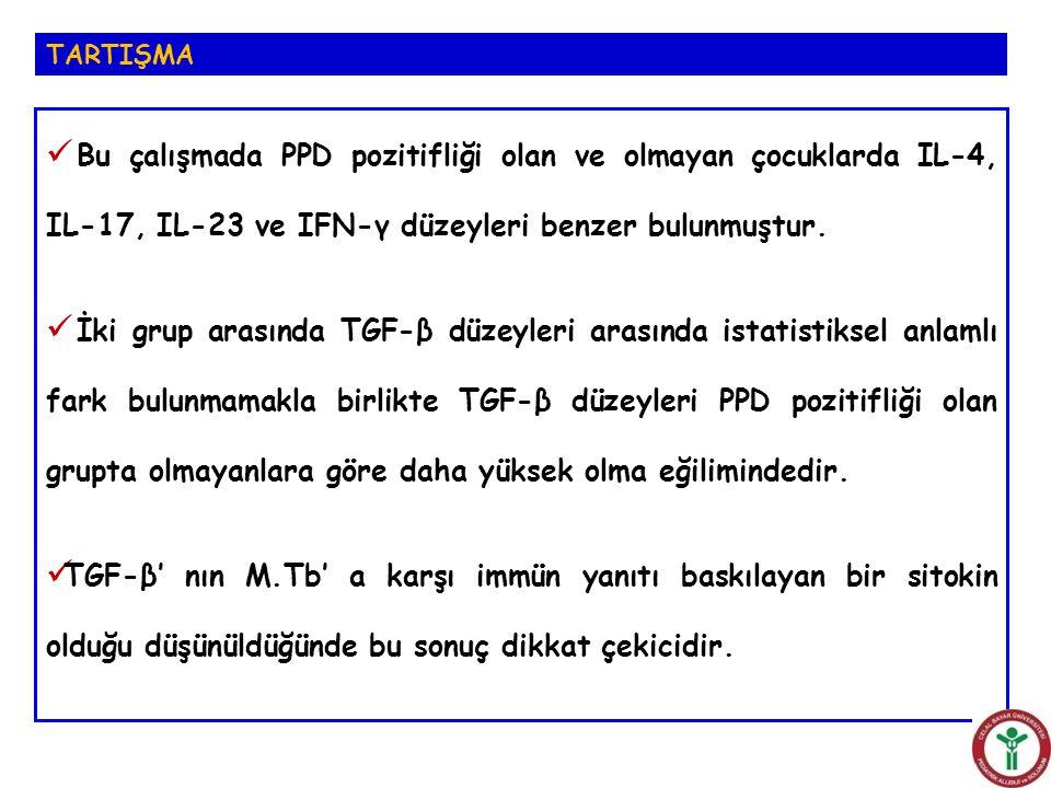 Bu çalışmada PPD pozitifliği olan ve olmayan çocuklarda IL-4, IL-17, IL-23 ve IFN-γ düzeyleri benzer bulunmuştur. İki grup arasında TGF-β düzeyleri ar