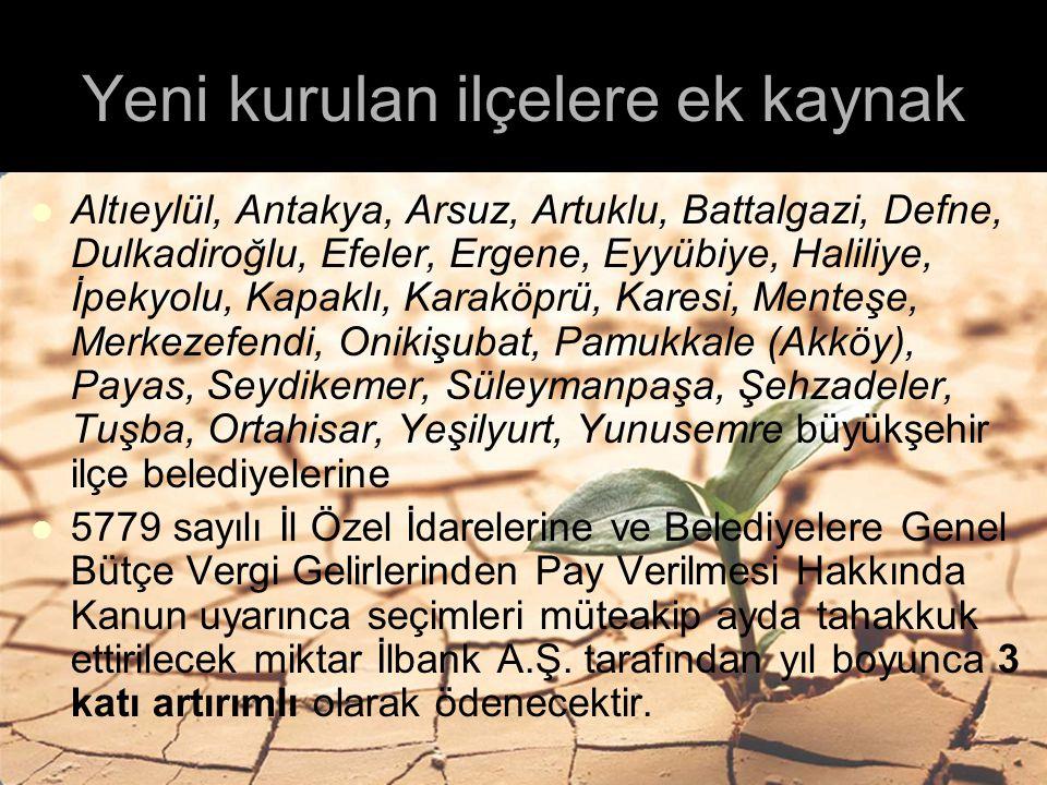 Yeni kurulan ilçelere ek kaynak Altıeylül, Antakya, Arsuz, Artuklu, Battalgazi, Defne, Dulkadiroğlu, Efeler, Ergene, Eyyübiye, Haliliye, İpekyolu, Kap
