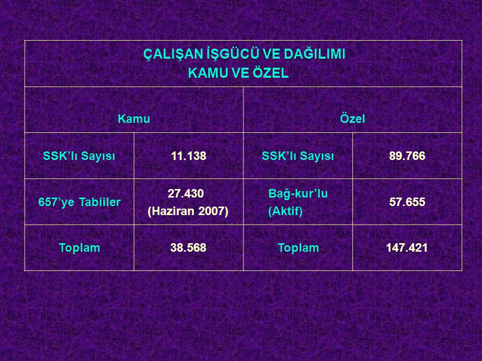 İŞGÜCÜ PİYASASI VERİLERİ İlimizde faaliyet gösteren ve Türkiye İş Kurumu Sakarya İl Müdürlüğüne kayıtlı 10-50 arası işçi çalıştıran işyerleri ile 50+ istihdamlı işçi çalıştıran işyerlerinin 2006 ve 2007 yıllarına ait sayısal bilgileri: 10-50 ARASI İSTİHDAMLI İŞYERLERİ VE ÇALIŞAN SAYILARI KAMU İŞYERİÇALIŞAN SAYISIÖZEL SEKT İŞYR.ÇALIŞAN SAYISI 2006 Yılı 305992006 Yılı 45611.719 2007 Yılı 296202007 Yılı 65015.226 50+ İSTİHDAMLI İŞYERLERİ VE ÇALIŞAN SAYILARI KAMU İŞYERİÇALIŞAN SAYISI ÖZEL SEKTÖR İŞYERLERİ ÇALIŞAN SAYISI 2006 Yılı 2651862006 Yılı 14330.118 2007 Yılı 244.9502007 Yılı 16233.736