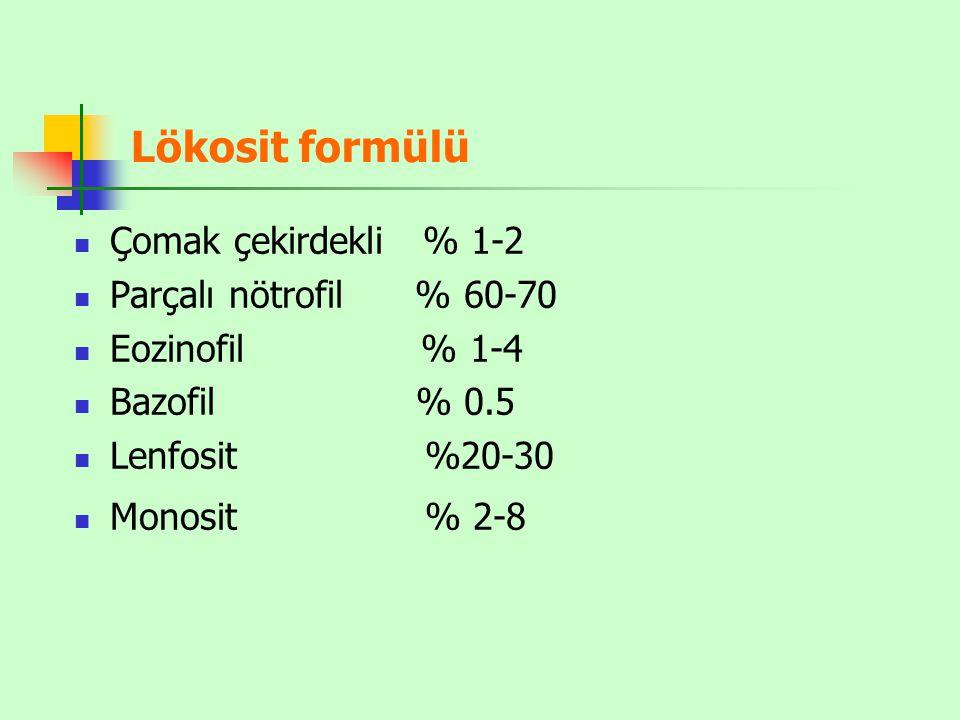 Lökosit formülü Çomak çekirdekli % 1-2 Parçalı nötrofil % 60-70 Eozinofil % 1-4 Bazofil % 0.5 Lenfosit %20-30 Monosit % 2-8
