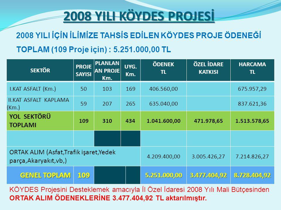 2008 YILI KÖYDES PROJESİ SEKTÖR PROJE SAYISI PLANLAN AN PROJE Km.