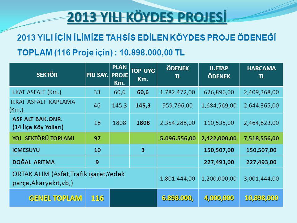 2013 YILI KÖYDES PROJESİ SEKTÖRPRJ SAY. PLAN PROJE Km.