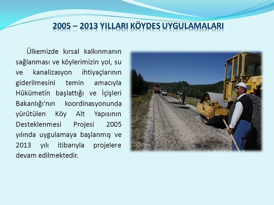 Ülkemizde kırsal kalkınmanın sağlanması ve köylerimizin yol, su ve kanalizasyon ihtiyaçlarının giderilmesini temin amacıyla Hükümetin başlattığı ve İçişleri Bakanlığı'nın koordinasyonunda yürütülen Köy Alt Yapısının Desteklenmesi Projesi 2005 yılında uygulamaya başlanmış ve 2013 yılı itibarıyla projelere devam edilmektedir.