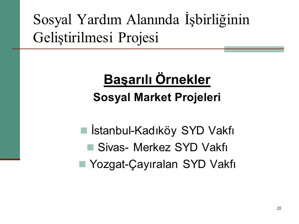 20 Sosyal Yardım Alanında İşbirliğinin Geliştirilmesi Projesi Başarılı Örnekler Sosyal Market Projeleri İstanbul-Kadıköy SYD Vakfı Sivas- Merkez SYD V