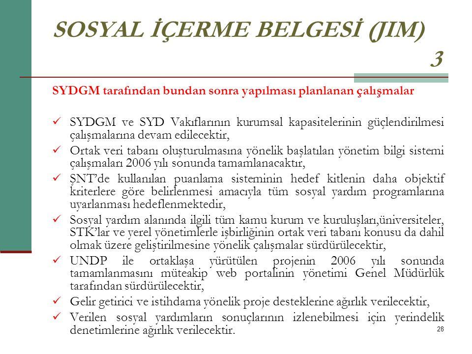 28 SOSYAL İÇERME BELGESİ (JIM) 3 SYDGM tarafından bundan sonra yapılması planlanan çalışmalar SYDGM ve SYD Vakıflarının kurumsal kapasitelerinin güçle