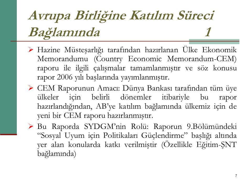 7 Avrupa Birliğine Katılım Süreci Bağlamında1  Hazine Müsteşarlığı tarafından hazırlanan Ülke Ekonomik Memorandumu (Country Economic Memorandum-CEM)