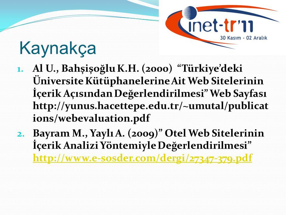 Kaynakça 1.Al U., Bahşişoğlu K.H.