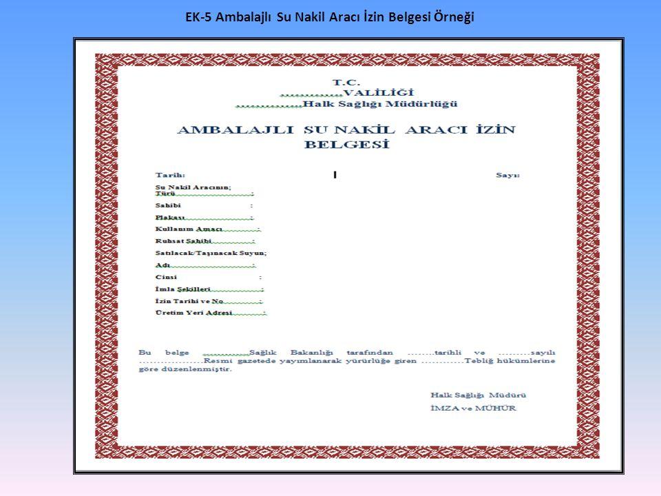 EK-5 Ambalajlı Su Nakil Aracı İzin Belgesi Örneği