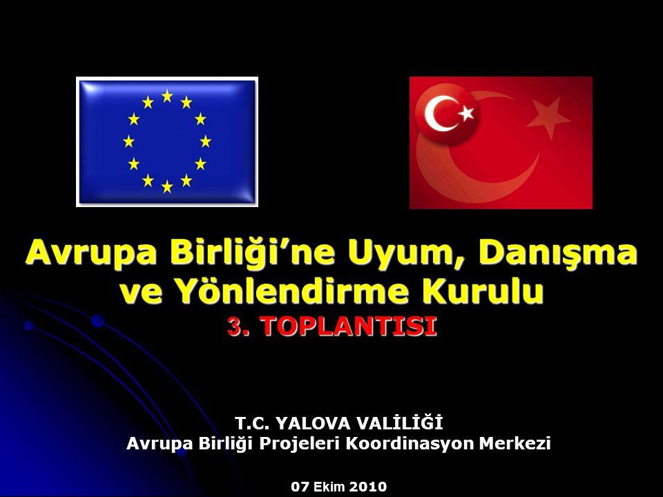 Avrupa Birliği'ne Uyum, Danışma ve Yönlendirme Kurulu 3. TOPLANTISI T.C. YALOVA VALİLİĞİ Avrupa Birliği Projeleri Koordinasyon Merkezi 07 Ekim 2010