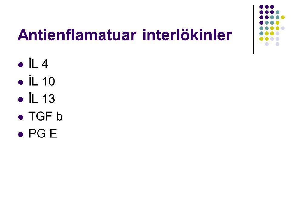 Antienflamatuar interlökinler İL 4 İL 10 İL 13 TGF b PG E