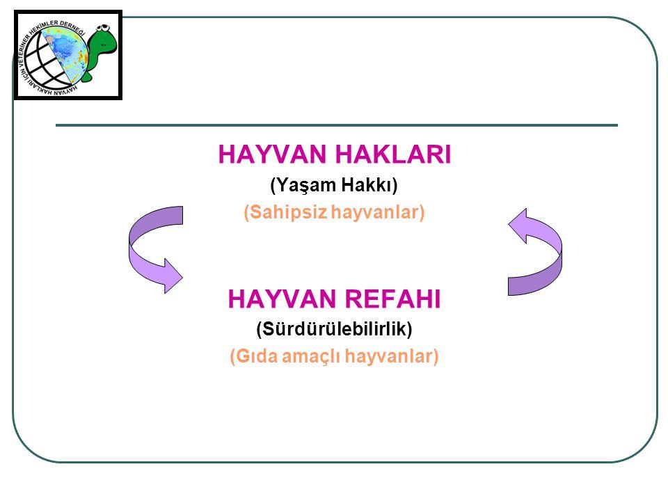 HAYVAN HAKLARI (Yaşam Hakkı) (Sahipsiz hayvanlar) HAYVAN REFAHI (Sürdürülebilirlik) (Gıda amaçlı hayvanlar)