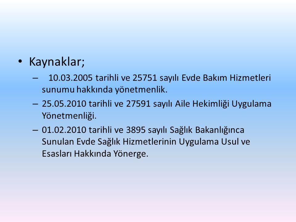 Kaynaklar; – 10.03.2005 tarihli ve 25751 sayılı Evde Bakım Hizmetleri sunumu hakkında yönetmenlik. – 25.05.2010 tarihli ve 27591 sayılı Aile Hekimliği