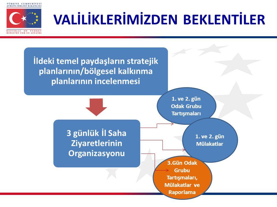 VALİLİKLERİMİZDEN BEKLENTİLER Activity10 İldeki temel paydaşların stratejik planlarının/bölgesel kalkınma planlarının incelenmesi 3 günlük İl Saha Ziyaretlerinin Organizasyonu 1.