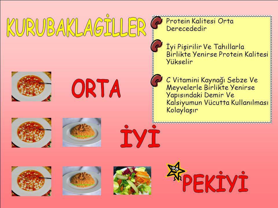 Protein Kalitesi Orta Derecededir İyi Pişirilir Ve Tahıllarla Birlikte Yenirse Protein Kalitesi Yükselir C Vitamini Kaynağı Sebze Ve Meyvelerle Birlik
