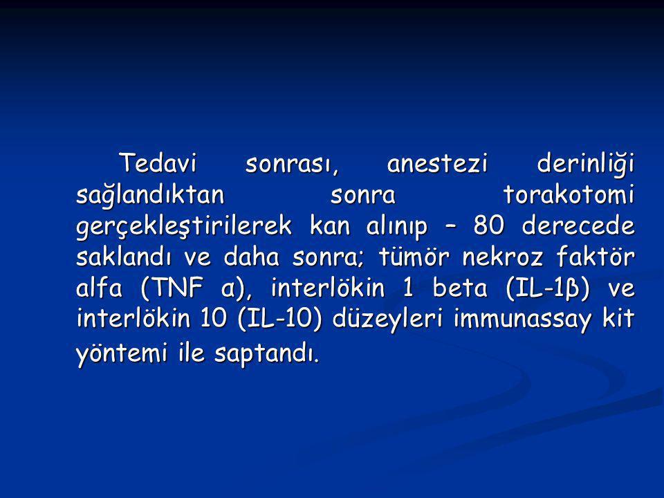 Tedavi sonrası, anestezi derinliği sağlandıktan sonra torakotomi gerçekleştirilerek kan alınıp – 80 derecede saklandı ve daha sonra; tümör nekroz faktör alfa (TNF α), interlökin 1 beta (IL-1β) ve interlökin 10 (IL-10) düzeyleri immunassay kit yöntemi ile saptandı.