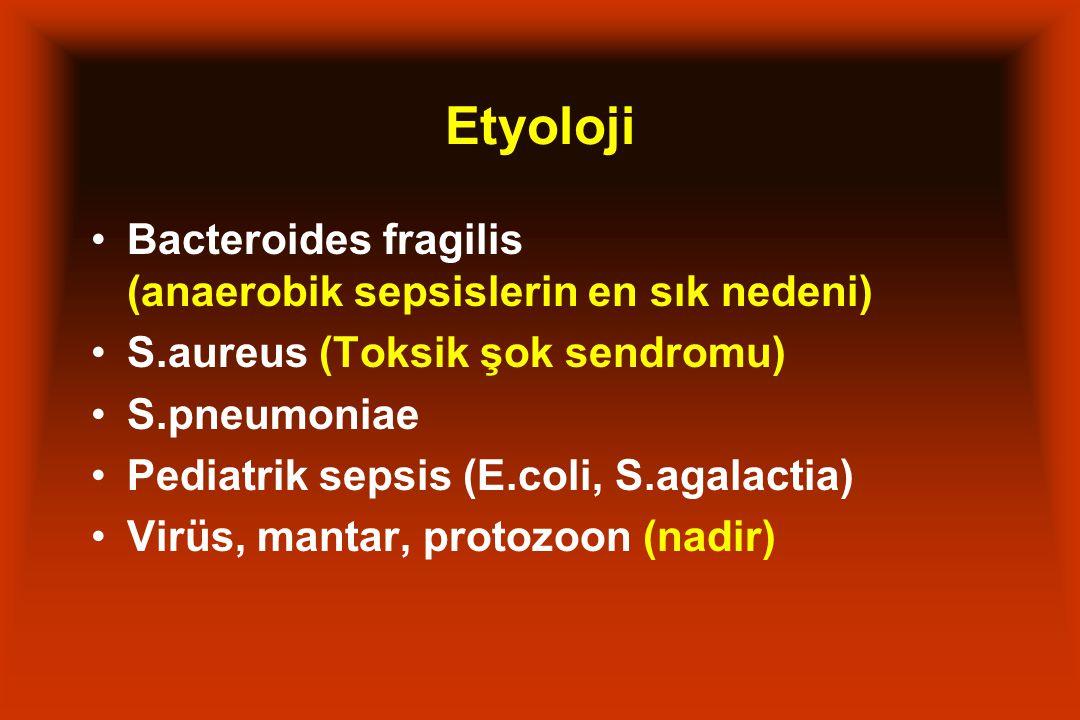 Etyoloji Bacteroides fragilis (anaerobik sepsislerin en sık nedeni) S.aureus (Toksik şok sendromu) S.pneumoniae Pediatrik sepsis (E.coli, S.agalactia)