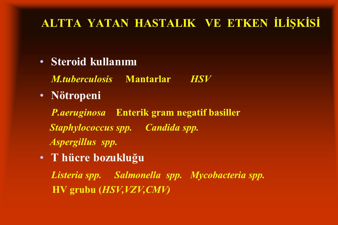 Steroid kullanımı M.tuberculosis Mantarlar HSV Nötropeni P.aeruginosa Enterik gram negatif basiller Staphylococcus spp.